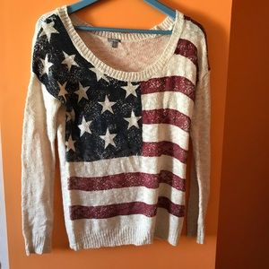 american flag knit sweater size small!